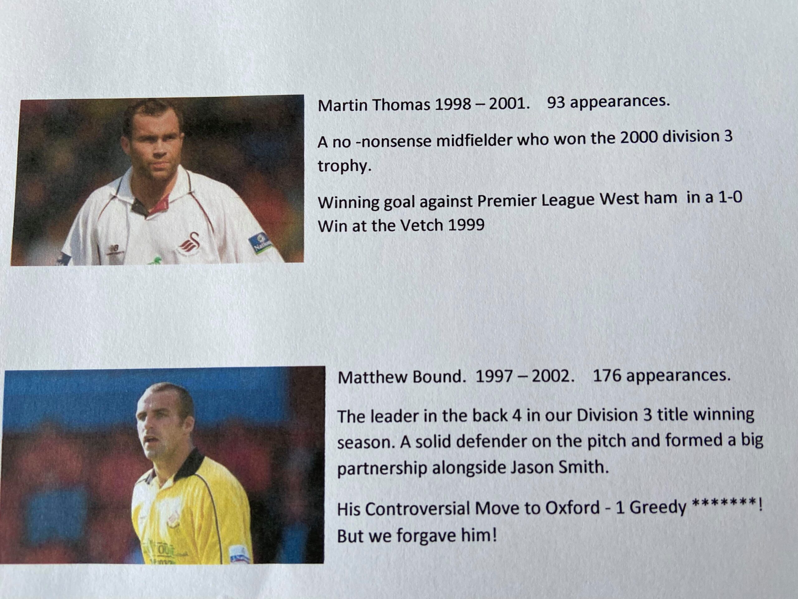 Swans Player of the 90s Nominees